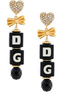 Dolce & Gabbana Par De Brincos Com Logo - Preto