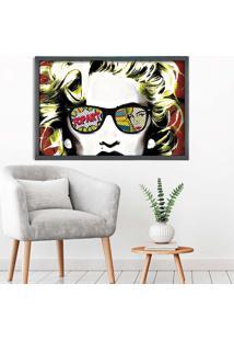 Quadro Love Decor Com Moldura Madonna Em Pop Art Grafitti Metalizado Médio