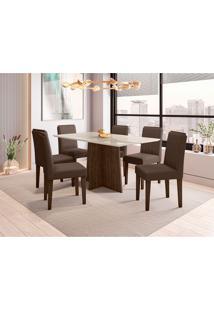 Conjunto De Mesa De Jantar Com Tampo De Vidro E 6 Cadeiras Ana Veludo Off White E Marrom