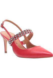 Sapato Chanel Com Aviamentos - Vermelho - Salto: 7,5Cecconello