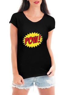 Camiseta Criativa Urbana Pow Quadrinhos Super Heróis - Feminino-Preto
