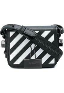Off-White Bolsa Mini Com Listras Diagonais - Preto