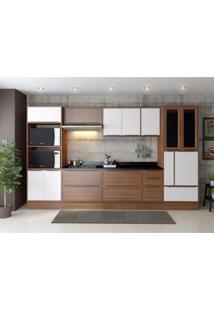 Cozinha Completa 11 Módulos 14 Portas Calábria Multimóveis Nogueira/Branco Texturizado