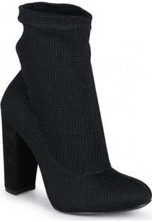 Ankle Boots Feminina Lara Knit Preto