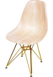 Cadeira Eames Polipropileno Amadeirado Claro Base Cobre - 46145 - Sun House