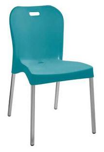 Cadeira Com Pé De Alumínio Sem Braço Turquesa Paramount Plásticos