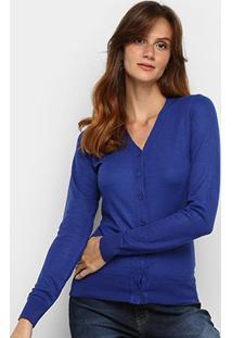 Cardigã Tricot Fashion Botões Feminino - Feminino-Azul