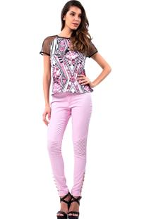 Calça Jeans Reta Lança Perfume 147212100196 Rosa