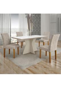 Conjunto De Mesa De Jantar Creta Iii Com 4 Cadeiras Olímpia Suede Branco E Palha