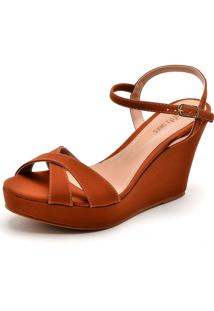 Sandália Dafiti Shoes Tiras Cruzadas Caramelo