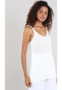 Regata Feminina Mindset Longa Em Tricô Com Lurex Off White