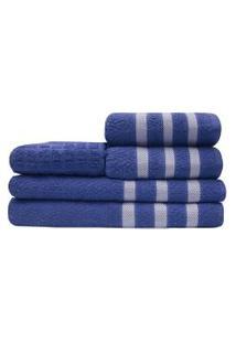 Jogo Toalhas 2 Banho 2 Rosto 1 Piso Tulipa 100% Algodáo Azul