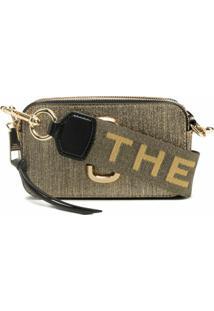 Marc Jacobs Bolsa Transversal Snapshot Com Placa De Logo - Dourado