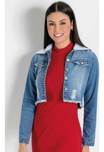 Jaqueta Cropped Jeans Moda Evangélica