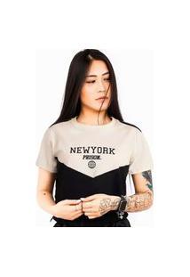 Camiseta Cropped Prison Feminina New York Off White