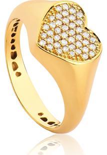 Anel De Ouro 18K Para Falange Coração Pequeno 42 Diamantes 16 Pontos