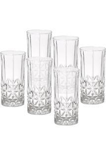 Conjunto 6 Copos Altos De Vidro Para Drink 360Ml Stella - Bohemia - Transparente