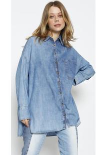 Camisa Jeans Com Bolsos - Azul - Colccicolcci
