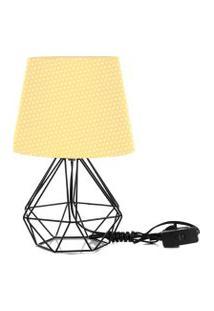 Abajur Diamante Dome Amarelo/Bolinha Com Aramado Preto