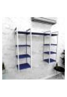 Estante Industrial Escritório Aço Cor Branco 120X30X98Cm (C)X(L)X(A) Cor Mdf Azul Modelo Ind52Azes