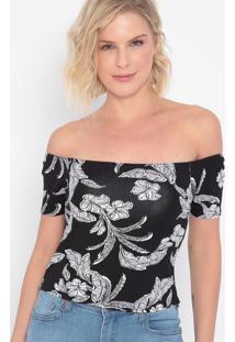 Blusa Ciganinha Floral- Preta & Branca- Malweemalwee