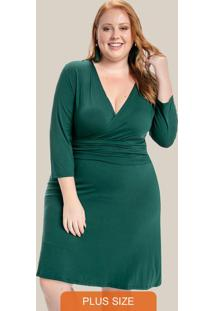 Vestido Plus Size Com Transpasse Decote Verde