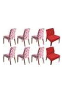 Kit 8 Capas De Cadeira Estampada Lisa Shade Vermelha Sultan