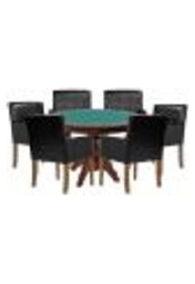 Mesa De Jogos Carteado Redonda Montreal Tampo Reversível Imbuia Com 6 Cadeiras Liverpool Corino Preto Matelassê - Gran Belo