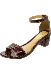 Sandalia Mariha Calçados Salto Bloco Croco Marsala