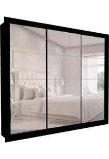 Guarda-Roupa Casal Com 3 Espelhos Helena 3 Pt 6 Gv Preto 242 Cm