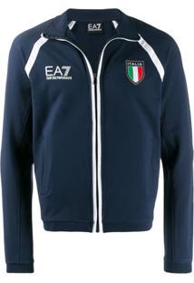 Ea7 Emporio Armani Jaqueta Esportiva Com Logo - Azul