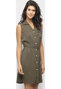 Vestido Sofia Fashion Chemise Curto Pérola - Feminino-Verde