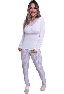 Pijama Longo Nj.Mix Blusa E Calça Frio Branco