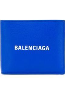 Balenciaga Carteira Everyday Com Logo - Azul