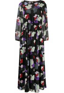 Emporio Armani Vestido Longo Com Estampa Floral - Preto