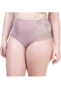 Calcinha Hot Pant Lateral Dupla Renda Nozes - 534.383 Marcyn Lingerie Alta Bege