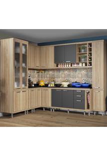 Cozinha Completa 16 Portas 5 Gavetas Sicilia 5805 Argila/Grafite Premium - Multimóveis