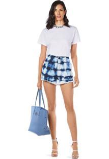 Shorts Morena Rosa Five Pockets Com Tie Dye Jeans