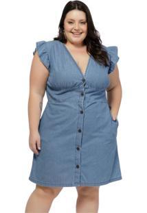 Vestido Mink Manga Curta Plus Size Jeans Azul