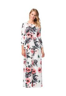 Vestido Longo Estampa Floral Com Bolsos Manga Longa - Branco
