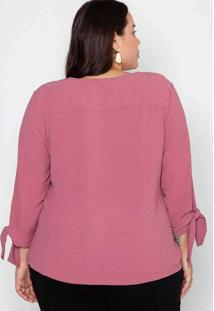 Camisa Almaria Plus Size Melonica Lisa Rosa