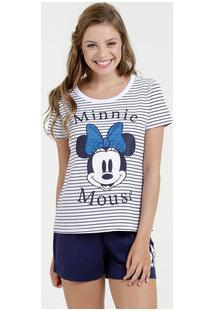 Pijama Feminino Listrado Minnie Manga Curta Disney