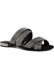 Rasteira Zariff Shoes Bico Aberto Pedras - Feminino-Preto