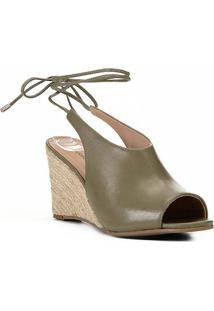 Sandália Anabela Shoestock Corda Couro Feminina - Feminino-Verde