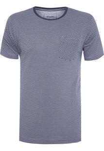 Camiseta Masculina Meia Malha Listrada - Azul