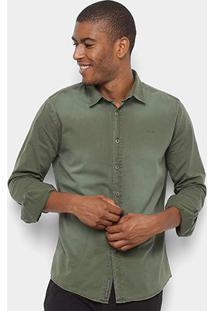 Camisa Sarja Colcci Manga Longa Classic Masculina - Masculino