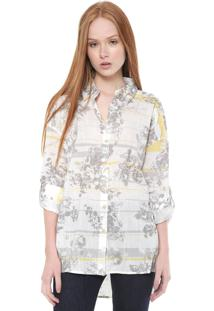 Camisa Calvin Klein Jeans Reta Estampada Branca/Cinza