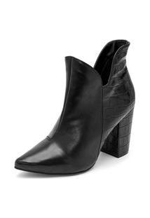 Bota Ankle Boot Abotinada Salto Bota Cano Curto Croco Bico Fino Salto Grosso Feminina Confortável