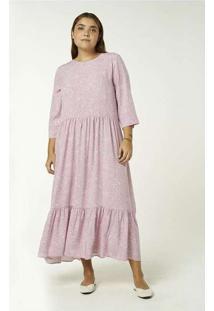Vestido Midi Manga Longa Estampado Rosa