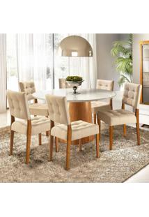 Conjunto Sala De Jantar Mesa 6 Cadeiras Virtuosa Siena Móveis Cinamomo/Off White/Pena Bege